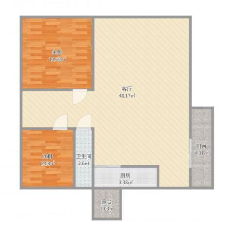 黄岐第一城2室1厅1卫1厨110.00㎡户型图