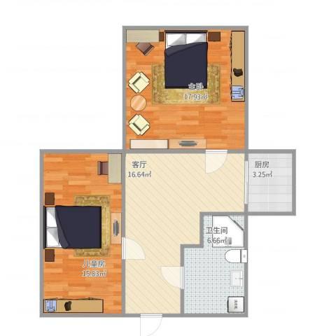 21中学区2室1厅1卫1厨81.00㎡户型图
