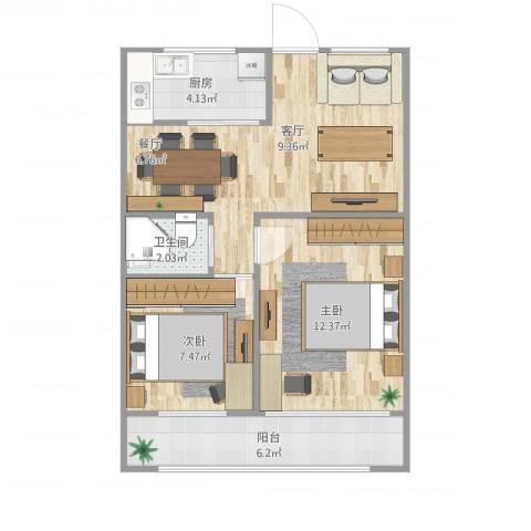 西坝河东里2室1厅1卫1厨66.00㎡户型图