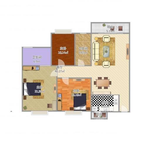 康怡花园3室1厅2卫1厨151.00㎡户型图