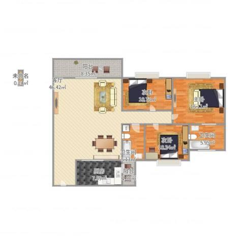 南港名轩3室1厅2卫1厨151.00㎡户型图