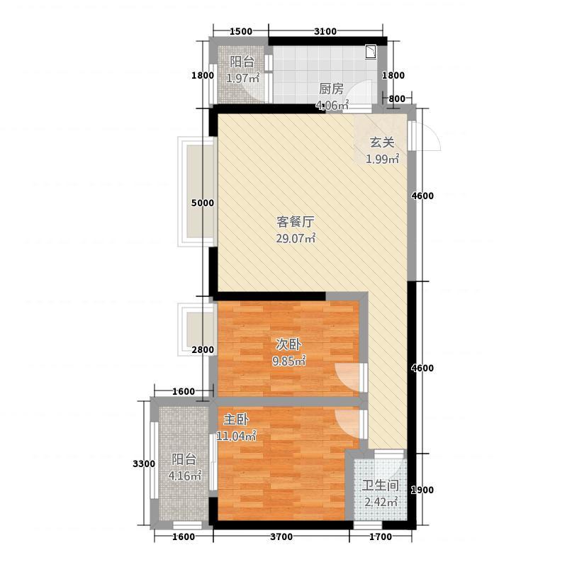 中大君悦金沙9期君雅院88.20㎡2栋标准层B6户型2室2厅1卫1厨