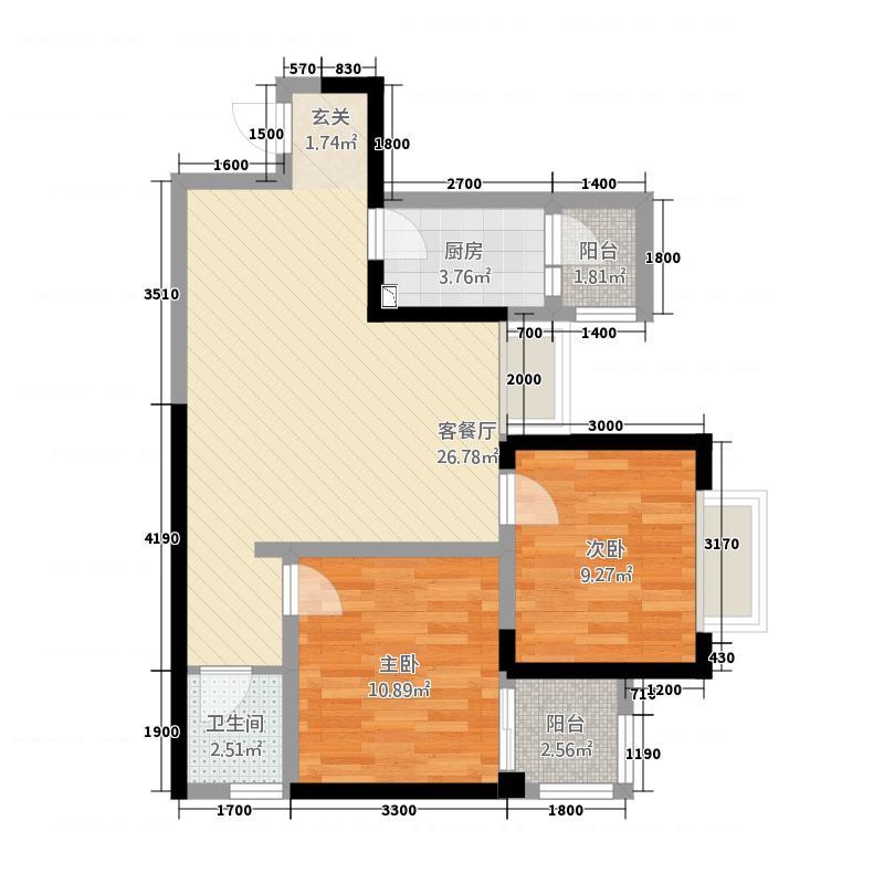 中大君悦金沙9期君雅院83.72㎡2栋标准层B5户型2室2厅1卫1厨