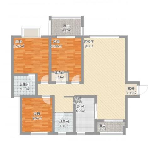 华府天地3室1厅2卫1厨139.00㎡户型图