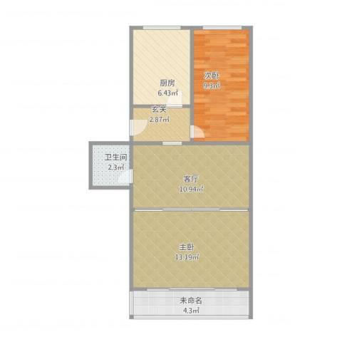 古城西路小区15号楼2室1厅1卫1厨68.00㎡户型图