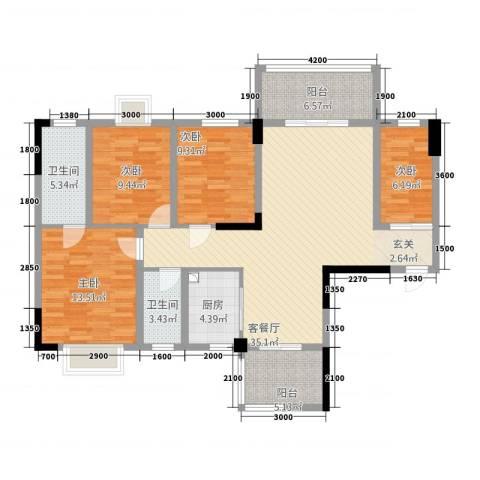 祥和新城4室1厅2卫1厨113.72㎡户型图