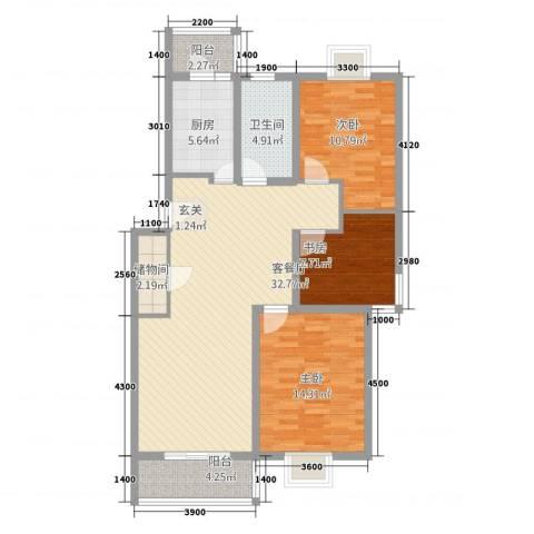 水榭华庭3室1厅1卫1厨122.00㎡户型图