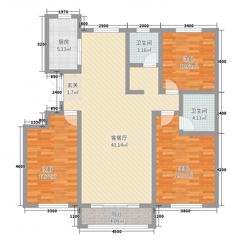 中豪・城市之星136.12㎡F户型3室2厅2卫1厨