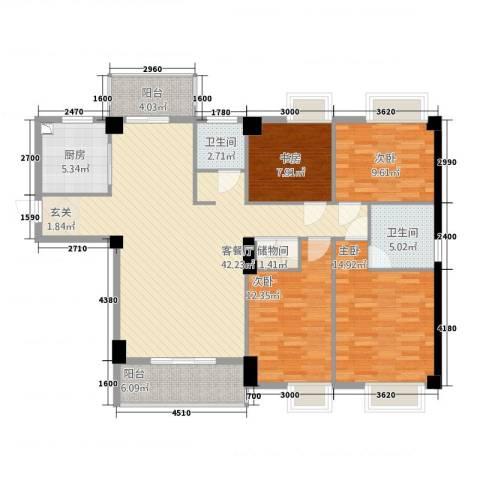 星河城市广场4室1厅2卫1厨111.84㎡户型图