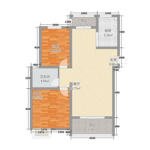 锦汇苑2室1厅1卫1厨79.89㎡户型图