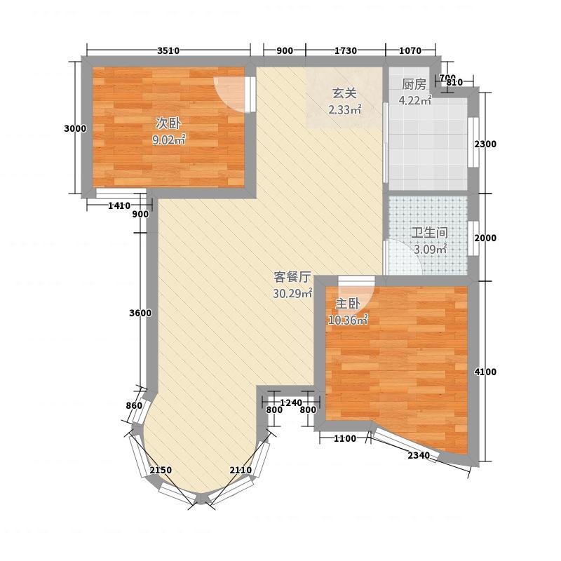 七星・圣景园2281.22㎡a户型2室2厅1卫1厨