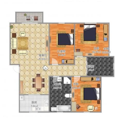 紫薇苑3室2厅1卫1厨157.00㎡户型图