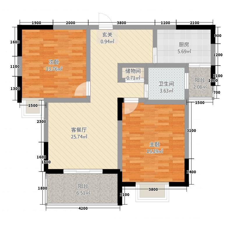 程力・水岸国际6.82㎡(7)户型2室2厅1卫