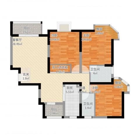 上大聚丰园3室1厅2卫1厨125.00㎡户型图