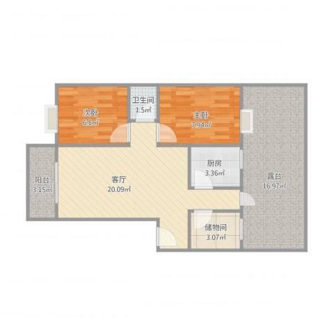 湖山花园2室1厅1卫1厨68.59㎡户型图