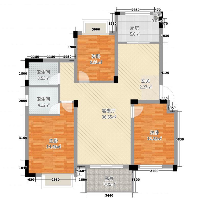 紫悦城11112.58㎡10#楼J-1户型3室2厅2卫1厨
