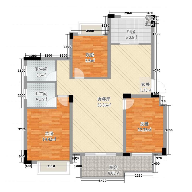 紫悦城81118.77㎡8#楼J-1户型3室2厅2卫1厨