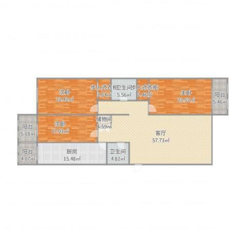 双发温泉花园3室1厅2卫1厨224.00㎡户型图