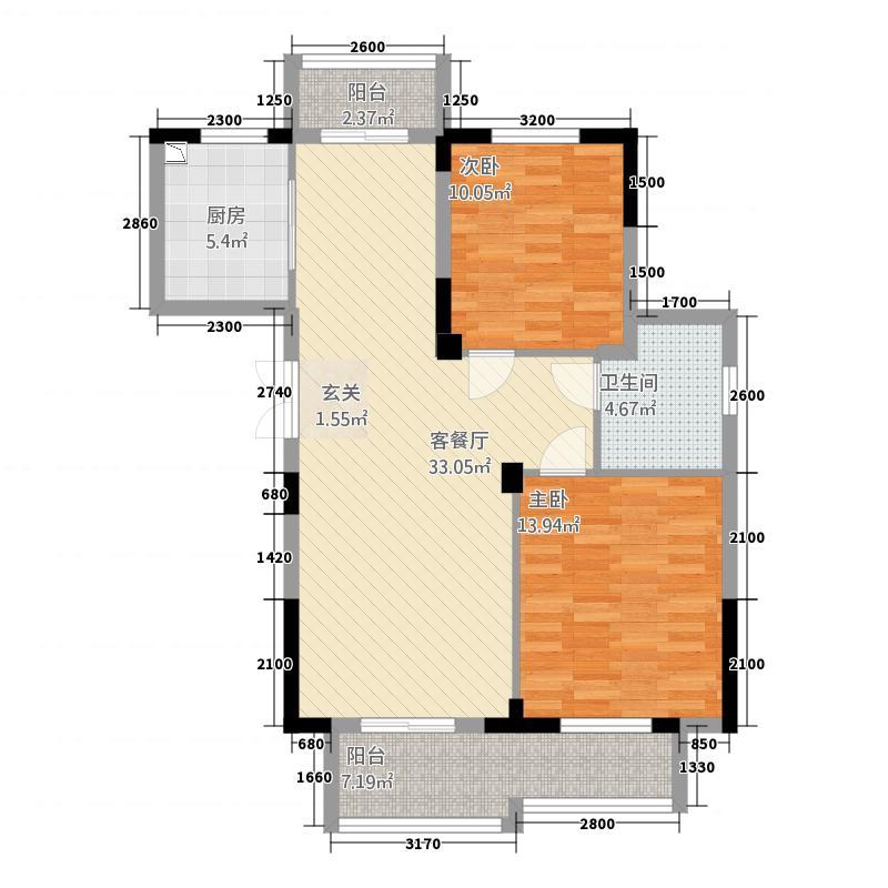 东方华庭424.32㎡G4户型2室2厅1卫1厨