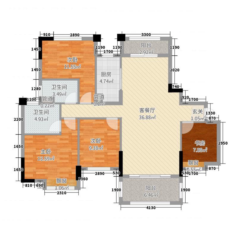 碧桂园・城市花园4144.20㎡4号楼J562-A户型4室2厅2卫1厨