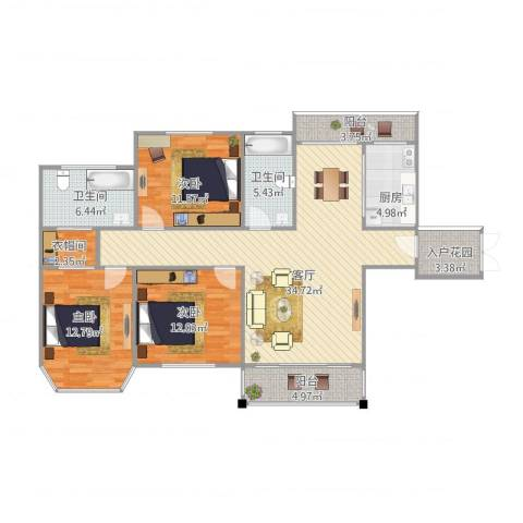 半山御景3室1厅2卫1厨139.00㎡户型图