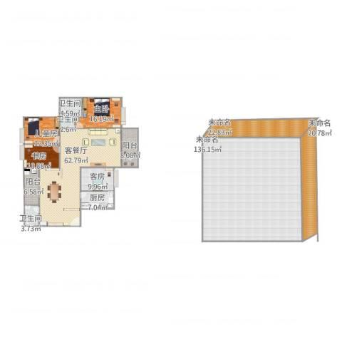蚝三丰泽园3栋11023室1厅3卫1厨426.00㎡户型图