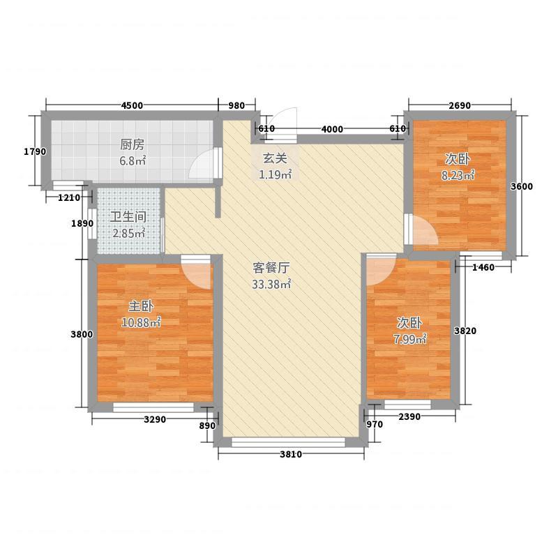 百商・托斯卡纳小城8.46㎡高层J户型3室2厅1卫