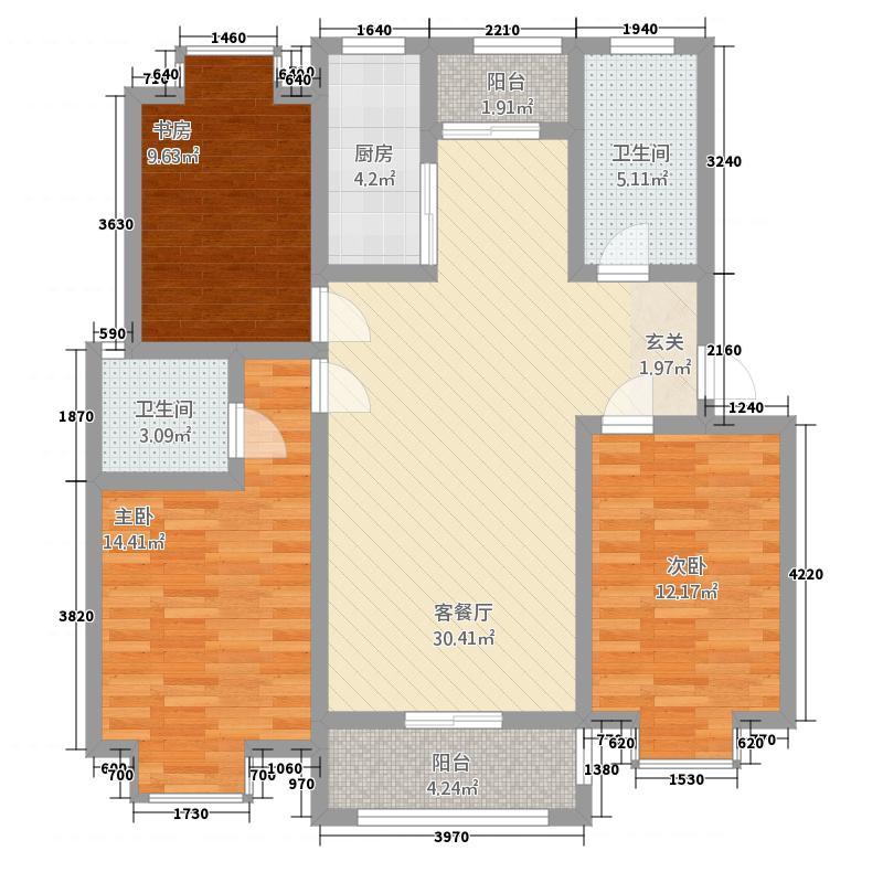 金鼎名城322123.78㎡O户型3室2厅2卫1厨