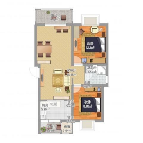 鹏欣一品漫城四期公寓2室1厅1卫1厨91.00㎡户型图