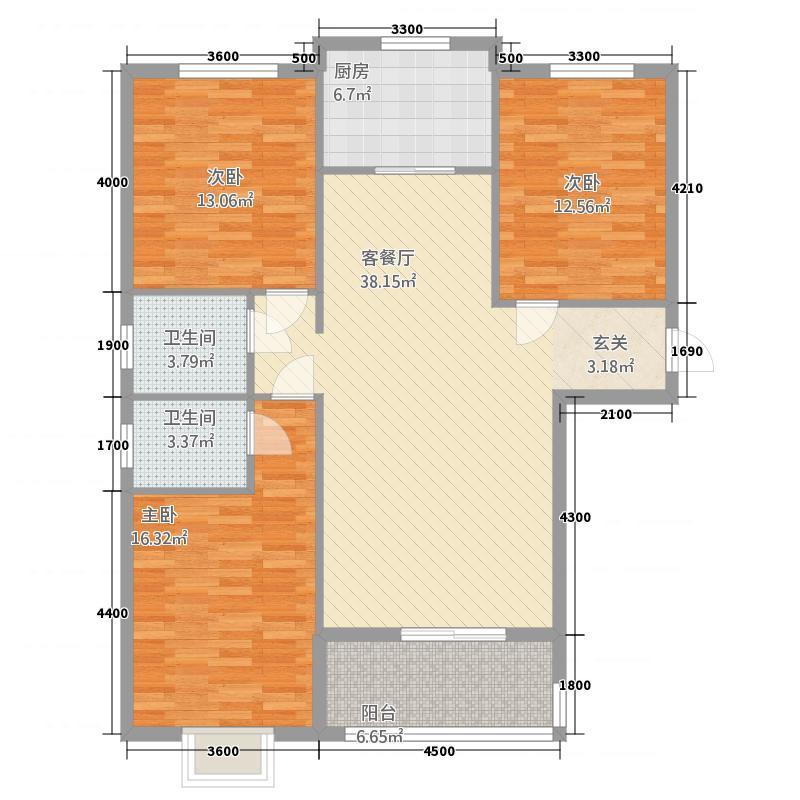 楚园经典322127.19㎡C户型3室2厅2卫