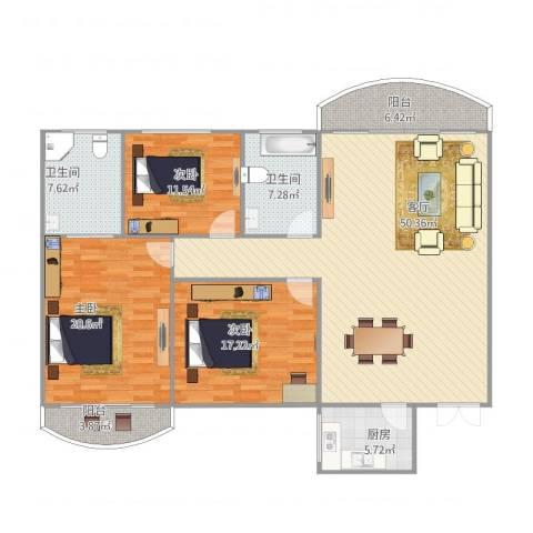 龙福花园3室1厅2卫1厨174.00㎡户型图