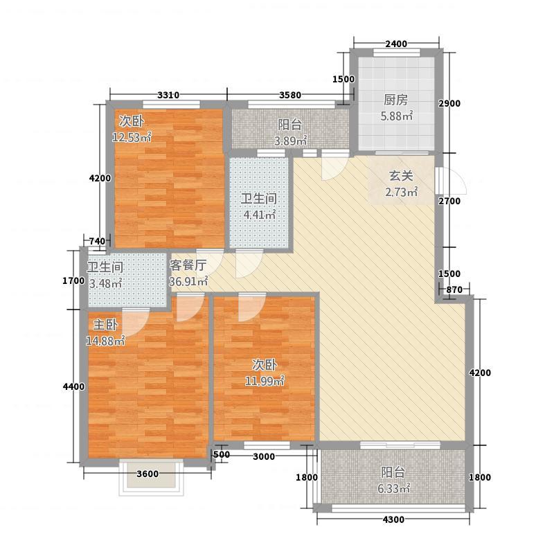 楚园经典32212.78㎡A户型3室2厅2卫