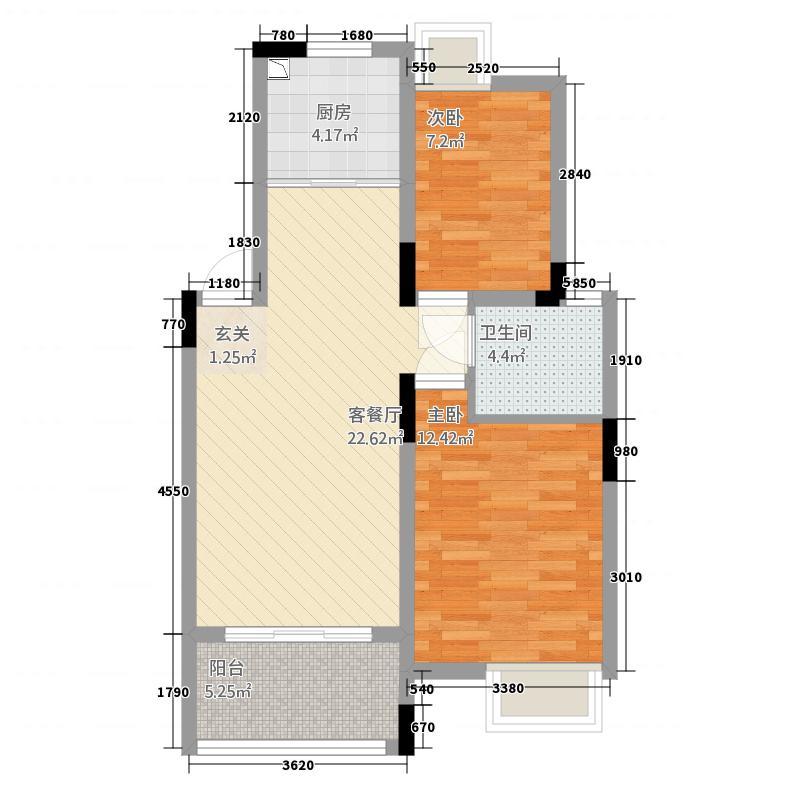 御东国际1117.22㎡1幢1单元A12室户型2室2厅1卫1厨
