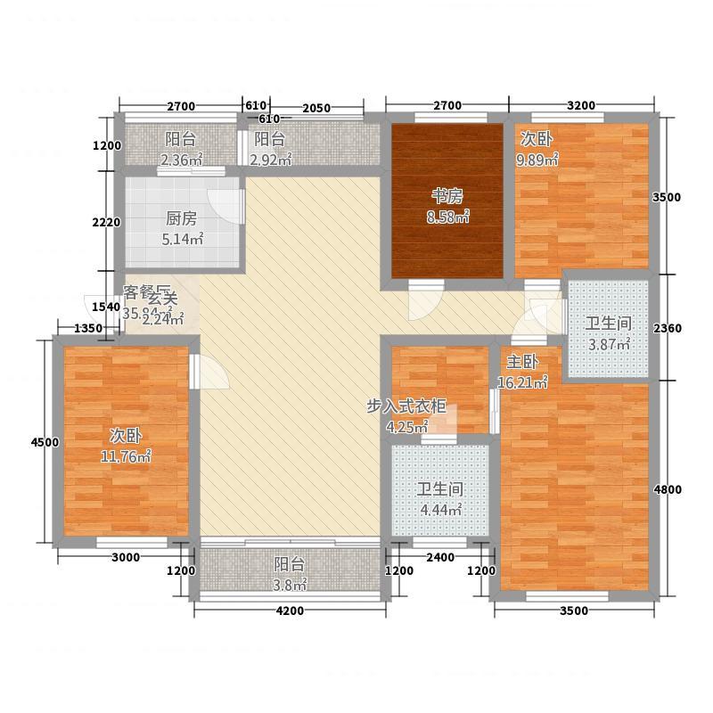 大象文化城6143.20㎡户型4室1厅2卫