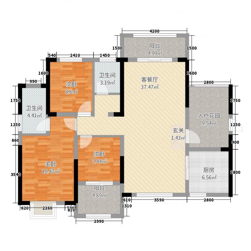 缤江汇13123.12㎡C-1A户型3室2厅2卫1厨