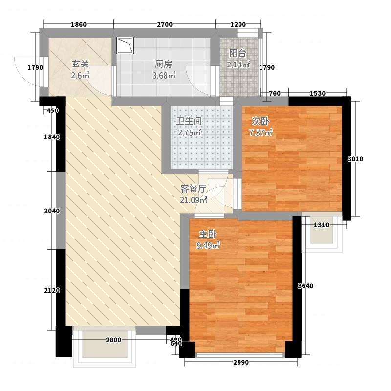 鼎城上都266.20㎡2号楼标准层F1户型2室2厅1卫1厨