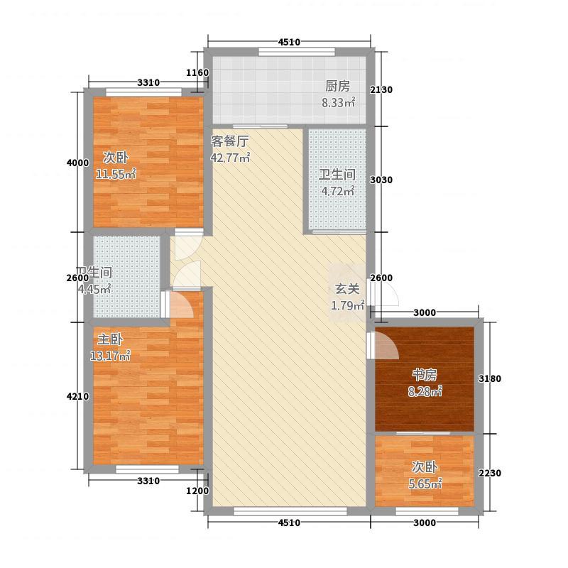 东润濠庭户型3室2厅2卫1厨