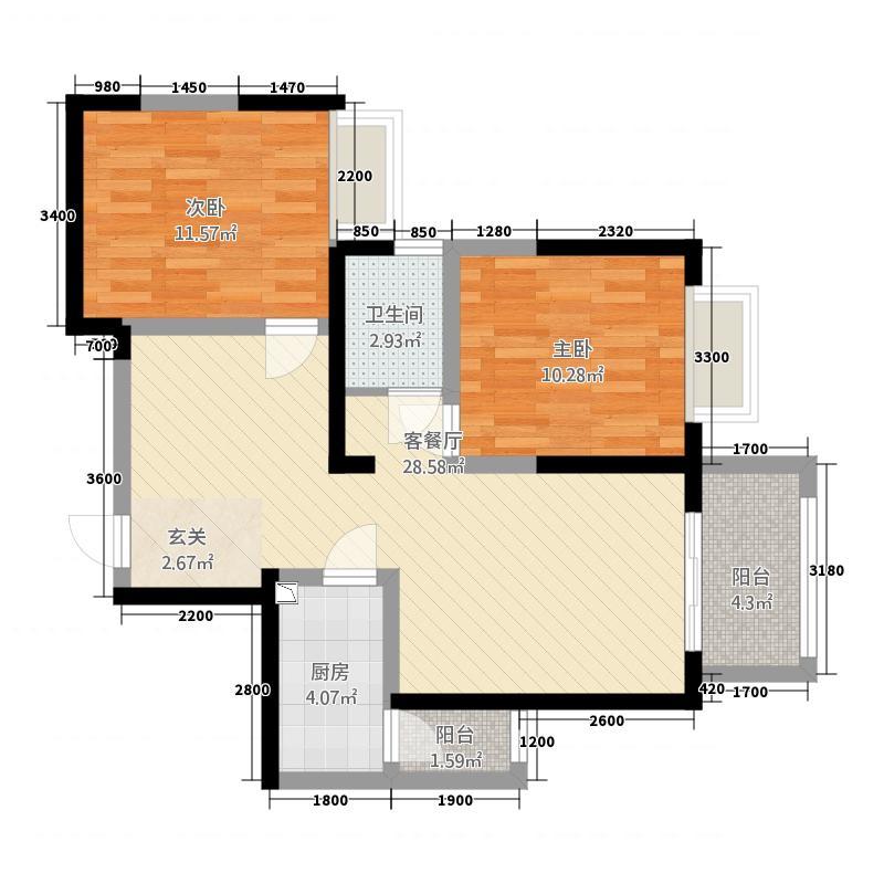 中大君悦金沙9期君雅院8.82㎡2栋标准层B3户型2室2厅1卫1厨