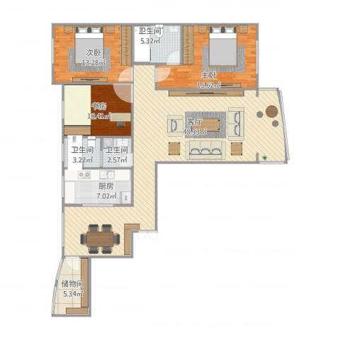 新兴国际文教城3室1厅3卫1厨149.00㎡户型图