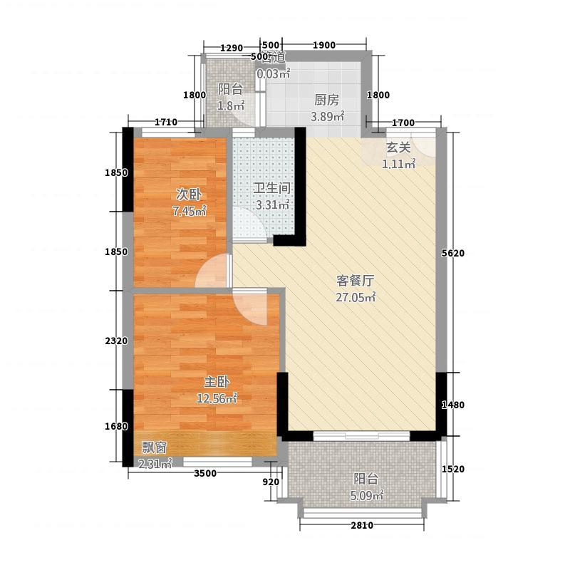 东圣维拉721162.44㎡7座2-11层04单元2室户型2室2厅1卫1厨