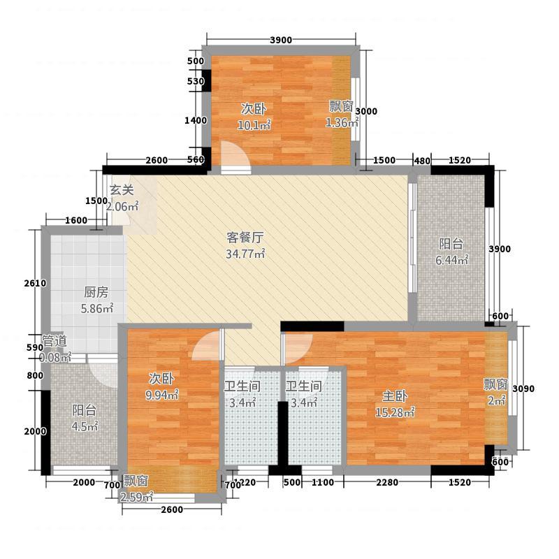 东圣维拉721188.19㎡7座2-11层03单元3室户型3室2厅2卫1厨