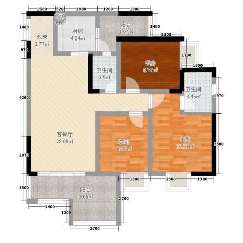 昌龙阳光尚城3室1厅2卫1厨80.74㎡户型图