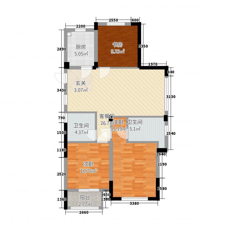 鸿翔・铜锣湾113.20㎡A户型3室2厅2卫1厨