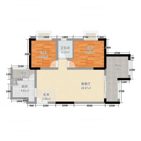 昌龙阳光尚城2室1厅1卫1厨68.34㎡户型图