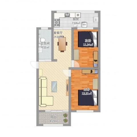 监狱宿舍2室1厅1卫1厨96.00㎡户型图