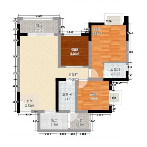 金九・南滨花园3室1厅2卫1厨69.73㎡户型图