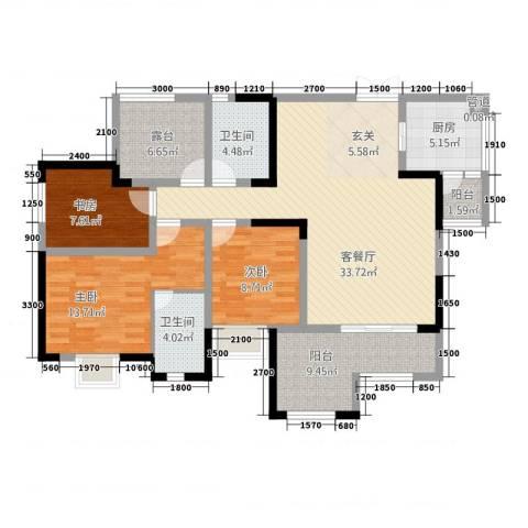 昌龙阳光尚城3室1厅2卫1厨95.17㎡户型图