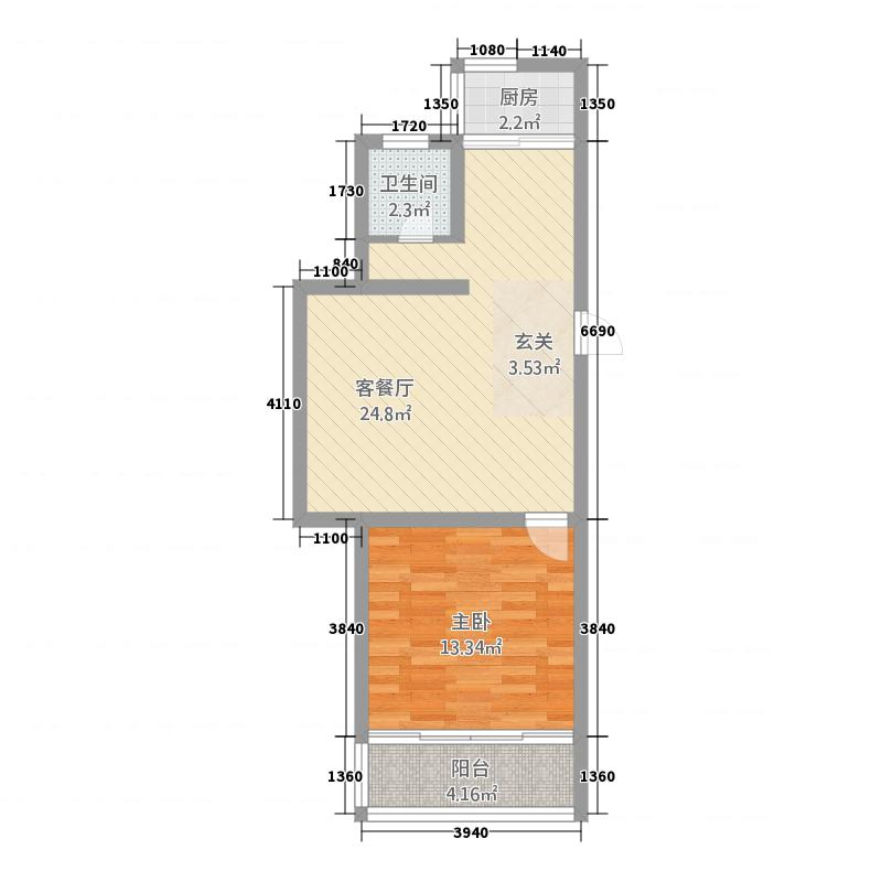 海盛在水一方C库・68户型1室2厅1卫