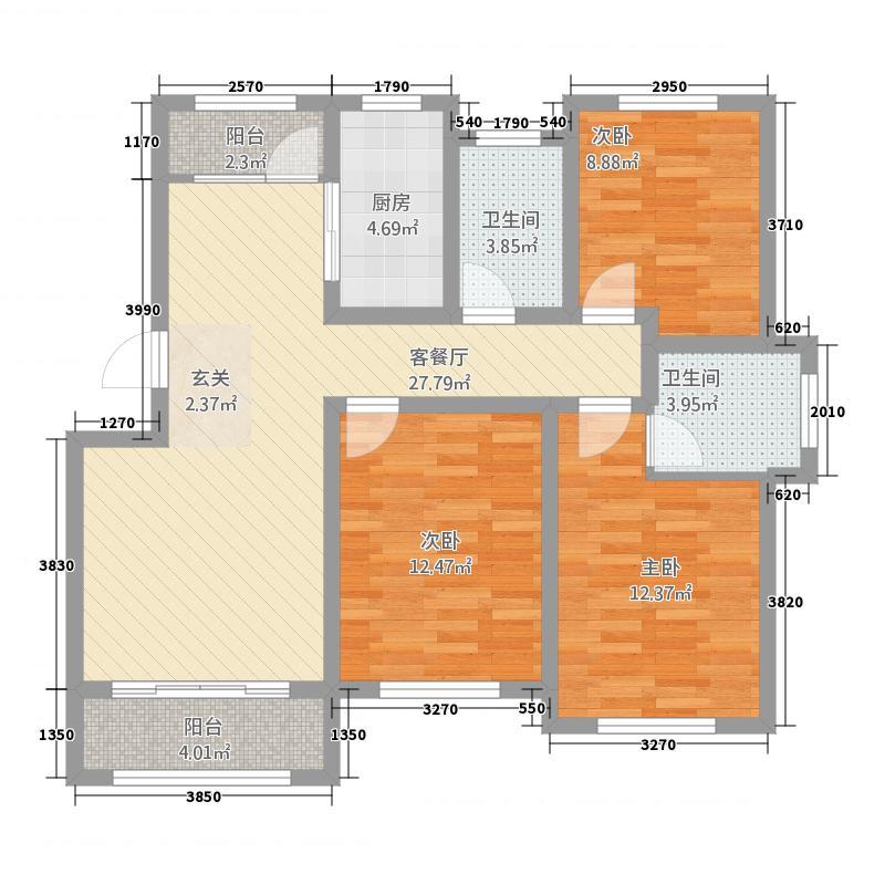 邦华・吉祥居118.20㎡C户型3室2厅2卫1厨