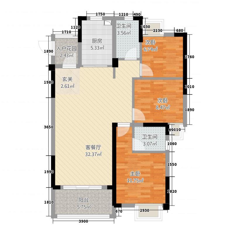E联广场3115.20㎡B户型3室2厅1卫1厨